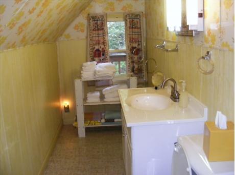 The half bath upstairs