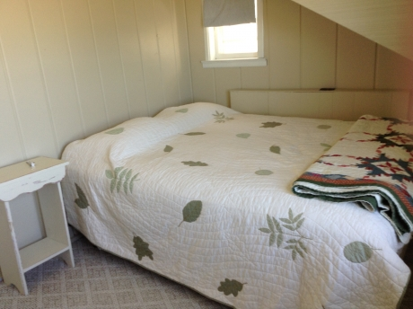 Bedroom #2 with queen size bed, overlooking the lake