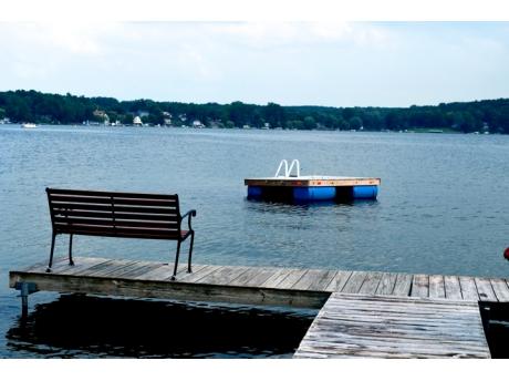 Dock and Swim raft at private swim area