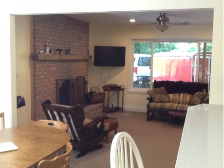 Living room with fireplace as taken from kitchen.  Nice open floor plan.