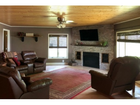 Spacious family room with gas fireplace