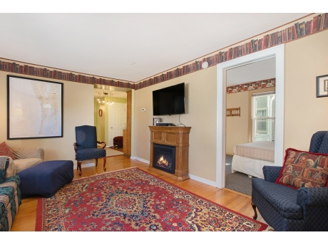 Living Room has a Smart TV and Electric Fireplace