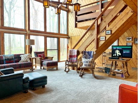 Living Room with Soaring Ceilings and Lake Views