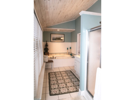 Master Bath has whirlpool tub and stand up shower and great view of towering red pines!