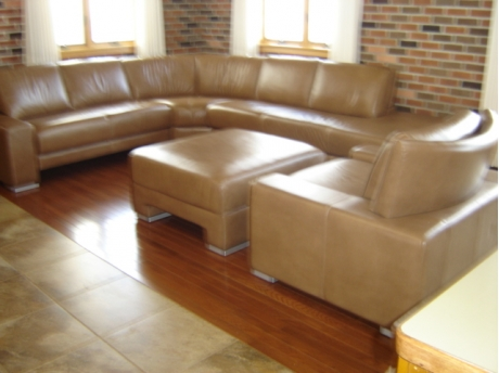 Watch movies together on large and comfortable leather sectional