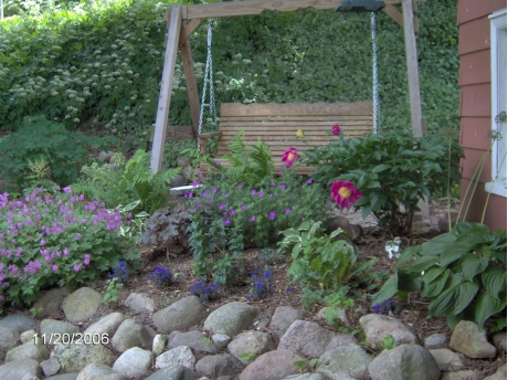 shade garden with swing