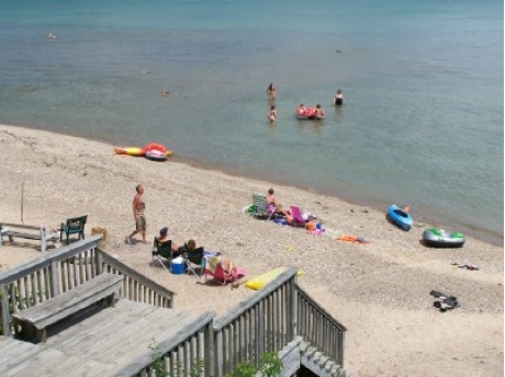 100' of private beach on Lake Huron