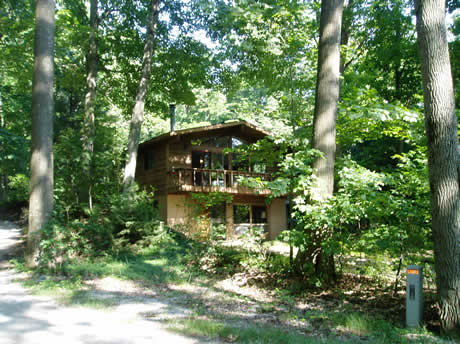 Front View of Cottage in the woods.